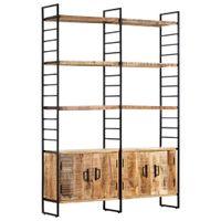 Regał na książki, 4 poziomy, 124x30x180 cm, surowe drewno mango