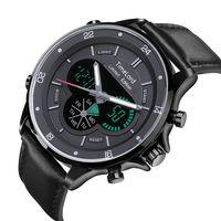 Męski Elektroniczny Zegarek Czarny Skóra Garnitur Oryginalny 2 Czasy