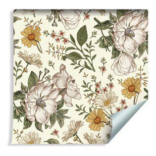 Tapeta do Salonu Dzikie Róże Rumianek Kwiaty Liście Natura