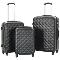 Zestaw twardych walizek, 3 szt., czarny, ABS