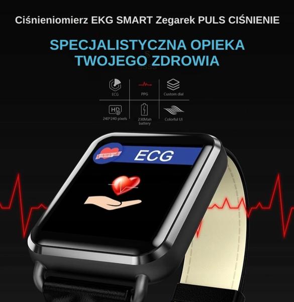 Ciśnieniomierz EKG SMART Zegarek PULS CIŚNIENIE 24 na Arena.pl