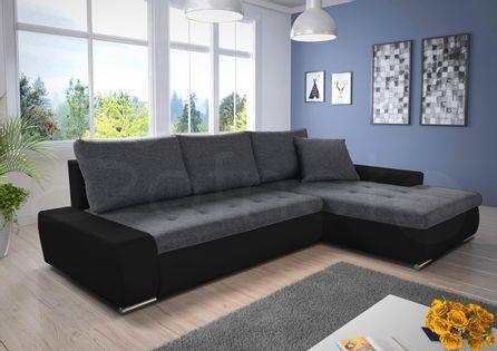 Duża wygodna kanapa narożna w nowoczesnym stylu FARIS pojemnik, spanie