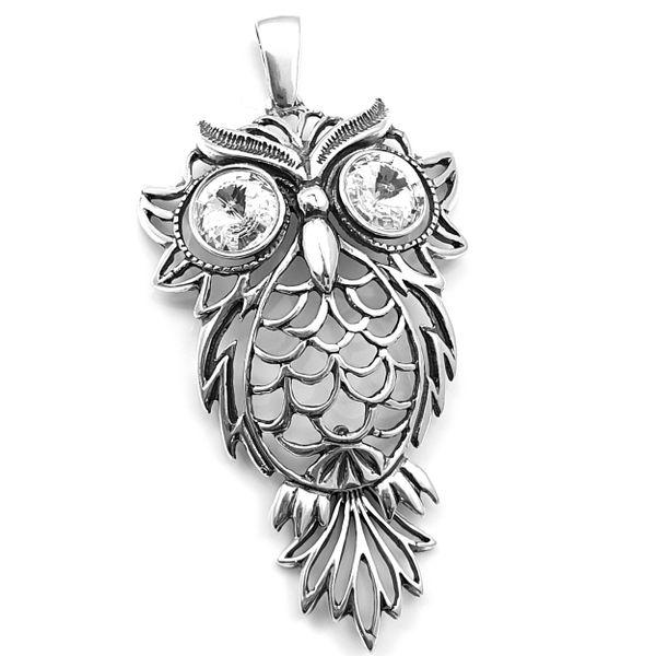 Wisiorek srebrny sowa kryształki SWAROVSKI zdjęcie 1