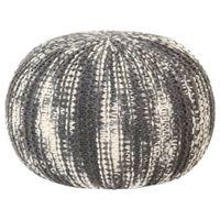 Puf, ręcznie dziergany, ciemnoszary i biały, 50x35 cm, wełna