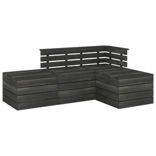 Lumarko 4-cz. zestaw wypoczynkowy z palet, drewno sosnowe, ciemnoszary