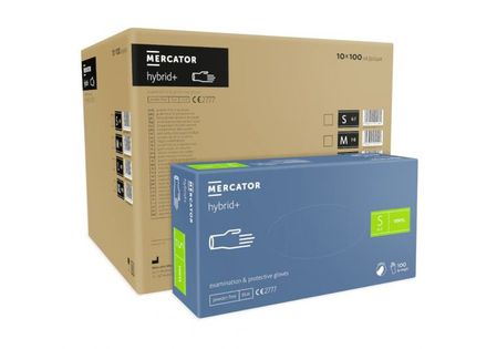 Rękawice syntetyczne MERCATOR hybrid+ S karton 10 x 100 szt