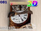 Pościel 3D bawełna satyna 200x220cm ZEGAR
