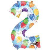 Balon foliowy CYFRA 2 w baloniki na 2 urodziny dwa