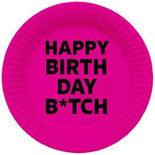 """Talerzyki papierowe """"Happy Birthday Bitch, różowe, FOLAT, 23 cm, 8 szt"""
