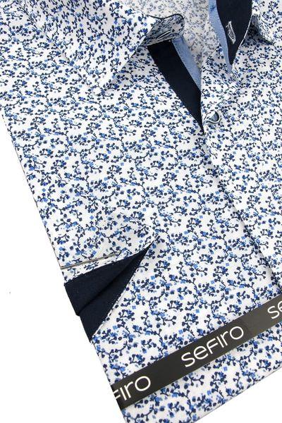 Duża Koszula Męska Sefiro biała w granatowe kwiatki na krótki rękaw Duże rozmiary K826 11XL 55 182/188 na Arena.pl