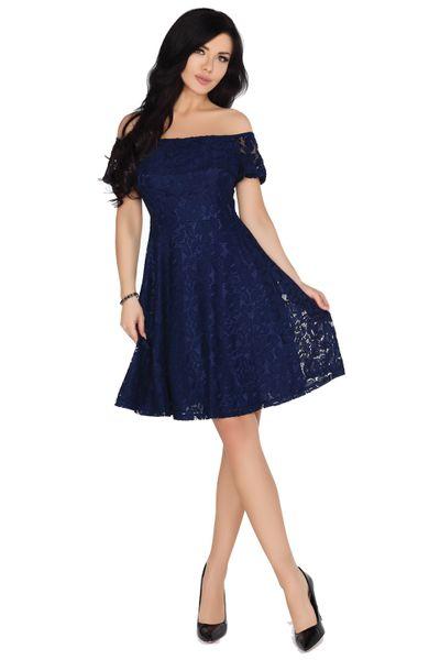 57f33aaffe Elegancka Sukienka rozkloszowana koronkowa Midi na imprezę szykowna XL  zdjęcie 3