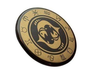 Ryby - znak zodiaku - magnes. Śr. 6cm; metal emaliowany