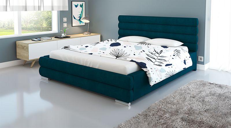 Duże łóżko Sypialniane 180x200 Z Stelażem I Pojemnikiem