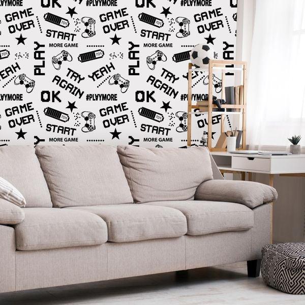 Tapeta dla chłopca czarno białe napisy piksele na Arena.pl