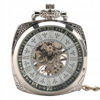Mechaniczny zegarek kieszonkowy srebrny kwadratowy