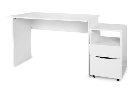 Klasyczne białe biurko z szafką na kółkach
