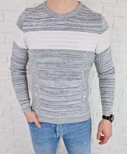 Szary melanzowy sweter męski z bialym pasem 3011 - XL