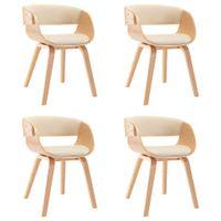 Krzesła Do Jadalni, 4 Szt., Kremowe, Gięte Drewno I Ekoskóra