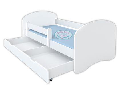 Łóżko dziecięce HAPPY 160x80 z szufladą i materacem – białe
