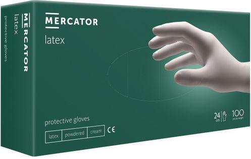Rękawice lateksowe pudrowane MERCATOR® simple latex M 100 szt