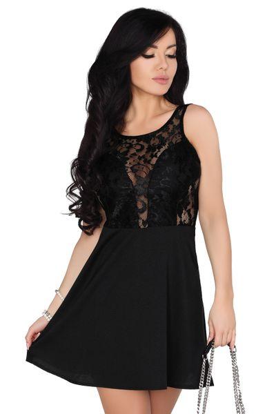 b526b0e11de557 Koronkowa Sukienka przed kolano czarna bawełniana na imprezę XL zdjęcie 1