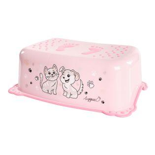 LUPPEE podnóżek podest antypoślizgowy pies i kot różowy