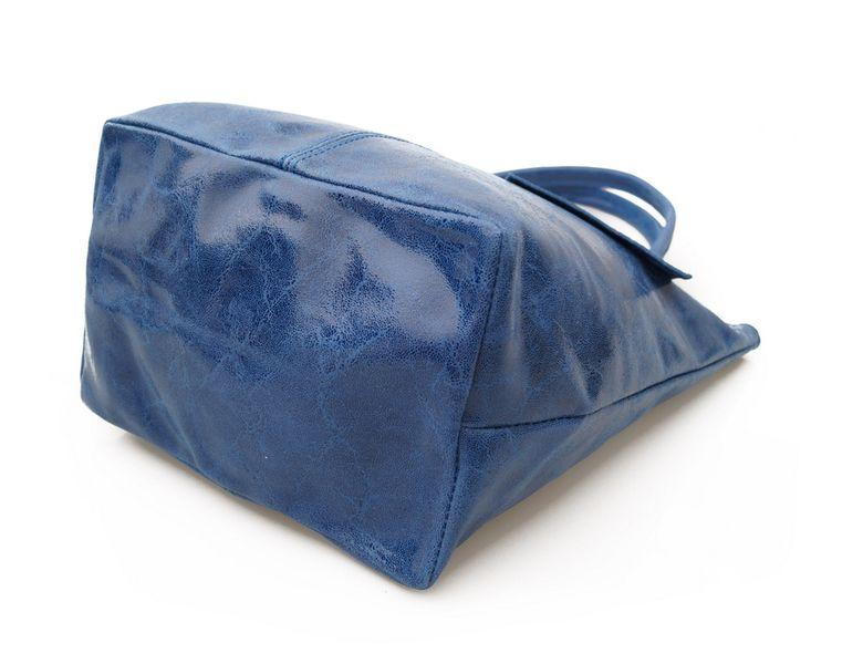 70b7e2e5b861c TOREBKA SKÓRZANA damska worek shopper połysk saszetka V237 - jasny niebieski  zdjęcie 7