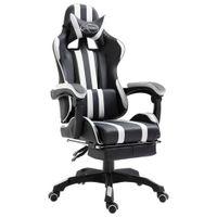 Fotel dla gracza z podnóżkiem, biały, sztuczna skóra