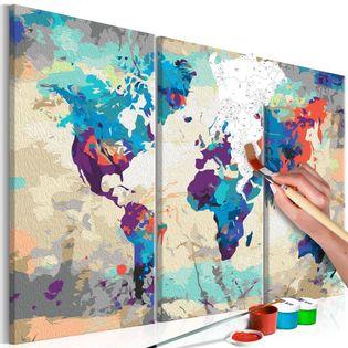 Obraz do samodzielnego malowania - Mapa świata (błękitno-czerwona) 3-częściowa