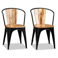 Krzesła do jadalni, lite drewno akacjowe, 2 szt.