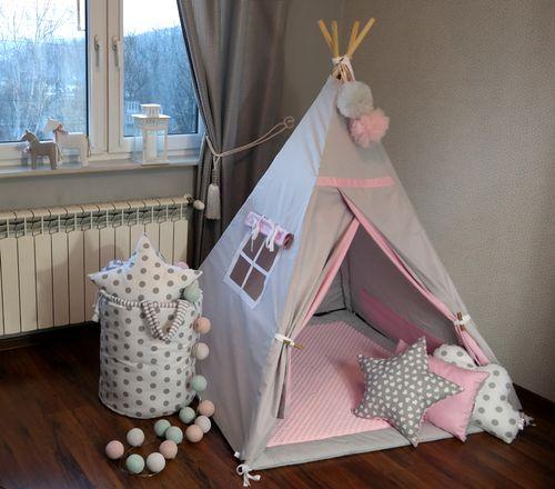 Namiot Tipi Teepee Minky Mata 120x120cm Poduszki Dużo Wzorów