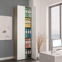 Szafa biurowa, biała i dąb sonoma, 60x32x190 cm, płyta wiórowa