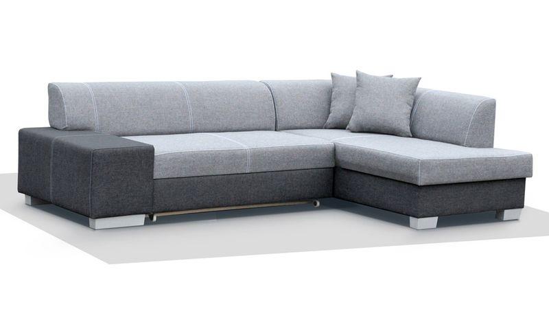 Bardzo dobryFantastyczny Narożnik BORDEN MINI funkcja spania sofa kanapa ekoskóra szara SR07