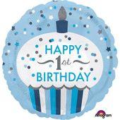 Amscan Balon foliowy Babeczka Chłopiec 1-urodziny