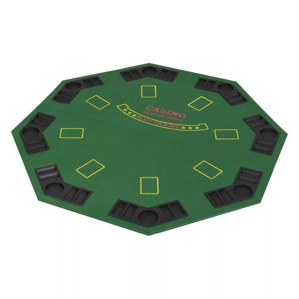 Składany blat do pokera dla 8 graczy, ośmiokątny, zielony zdjęcie 2