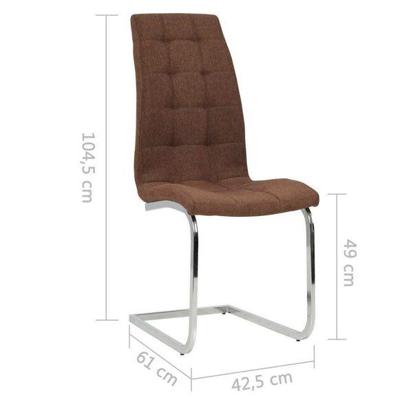 Krzesła Stołowe, 2 Szt., Brązowe, Tkanina zdjęcie 7