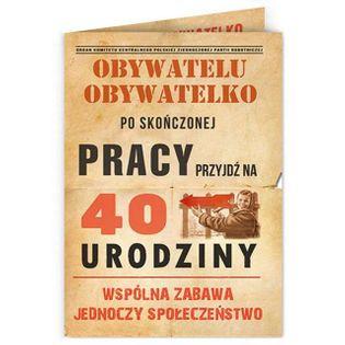 """Zaproszenia urodzinowe """"Obywatelu - 40 Urodziny"""", 10 szt"""