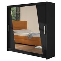 Szafa przesuwna Bega XIV z lustrem 180cm - pojemna garderoba - CZARNY