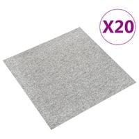 Podłogowe płytki dywanowe, 20 szt., 5 m², 50x50 cm, jasnoszare