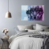 Obraz na płótnie - Canvas, Wilk na tle lasu - fioletowy nowoczesny 70x50 zdjęcie 3