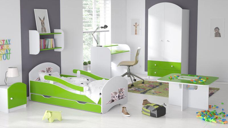Łóżko dziecięce 140x70 biało-zielone/limonkowe materac gratis zdjęcie 5