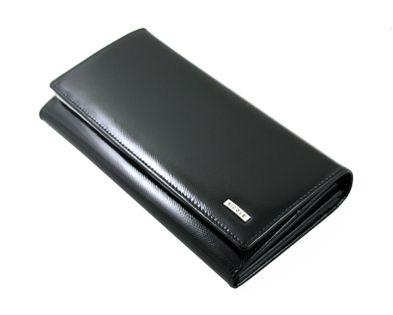 Długi lakierowany portfel damski Nicole, czarny