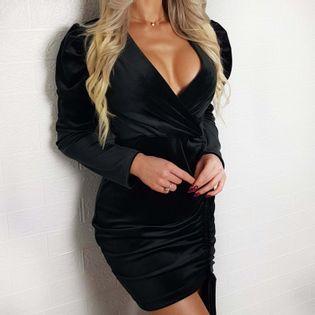 Sukienka elegancka czarna GLAMOUR bufki welur BS001777 Uniwersalny czarny