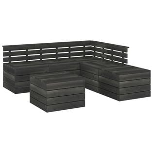 Lumarko 6-cz. zestaw wypoczynkowy z palet, drewno sosnowe, ciemnoszary