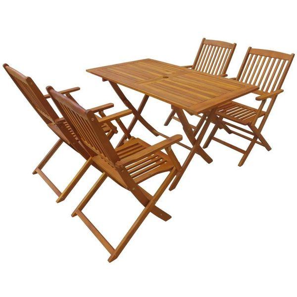 Meble Ogrodowe Stolik Stół 4 Krzesła Drewniane Składane