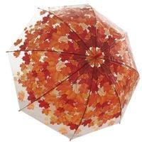 Przezroczysta parasolka damska w jesienny wzór, czerwone liście