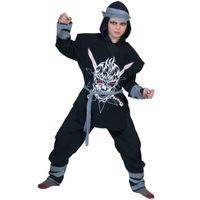 STRÓJ czarny NINJA samuraj WOJOWNIK zabójca 116 cm