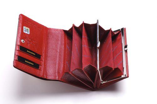 Mały portfel skórzany damski Zagatto czerwony liście RFID ZG-445 Leaf na Arena.pl