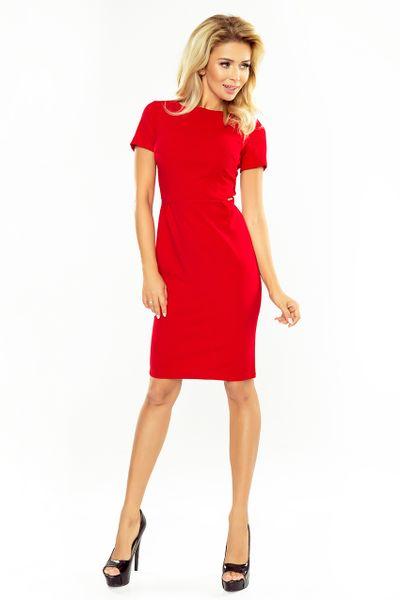 150-2 Sukienka DOROTA - elegancka - CZERWONA Rozmiar - XL zdjęcie 3