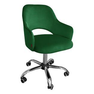 Fotel obrotowy MARCY / zieleń butelkowa / noga chrom / MG25
